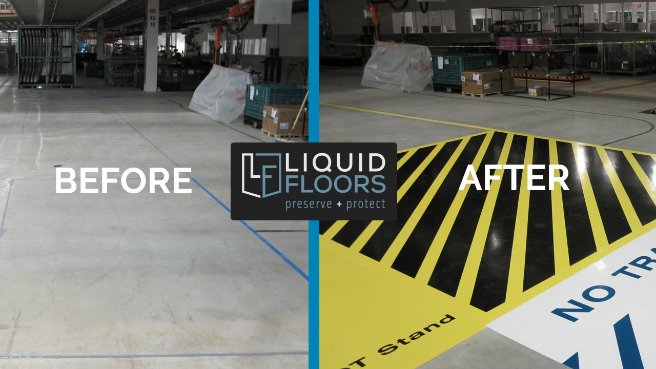 Industrial Automotive Epoxy Flooring & Line Striping Installation | Case Study | Greer SC