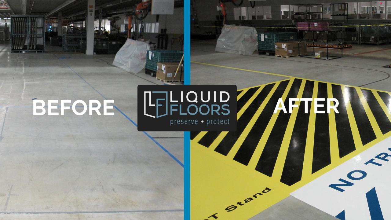 Line Striping Installation Epoxy Flooring By Liquid Floors at BWM Greer South Carolina AFTER
